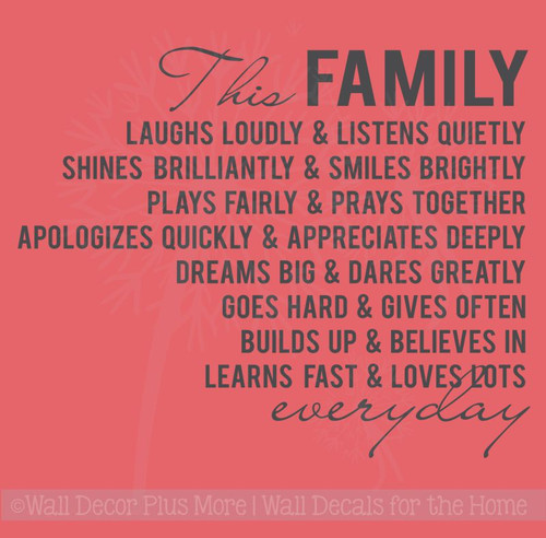 This Family Loves Lots Laughs Loudly Vinyl Lettering Family Wall Decals Quote