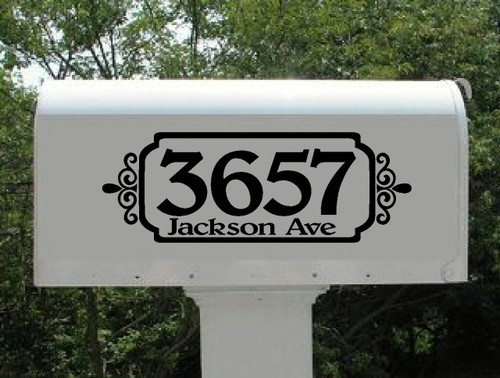 Address Mailbox Frame Swirls Personalized Vinyl Decal