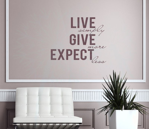 Live Simply Give More Expect Less Inspirational Wall Quotes Decal Stickers-Eggplant