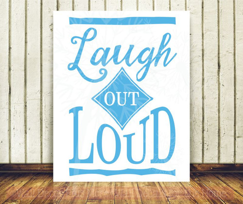 Laugh Out Loud Inspirational Wall Art Decal Sticker Word Art For Walls-Ice Blue