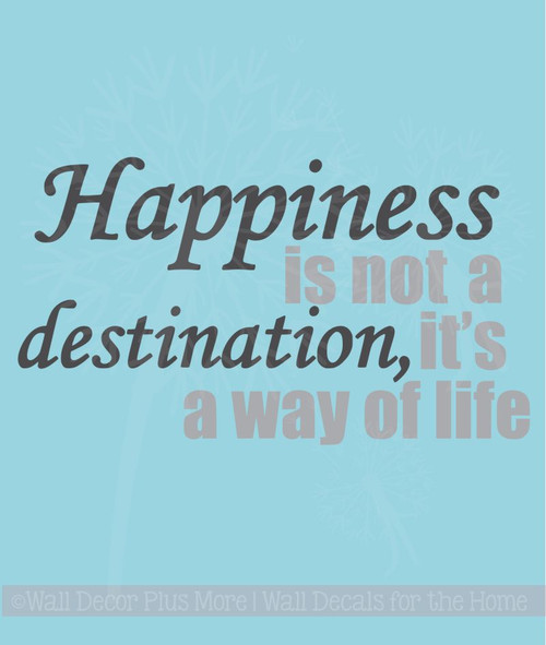 Happiness Its A Way of Life Inspirational Quotes Wall Art Decal Stickers