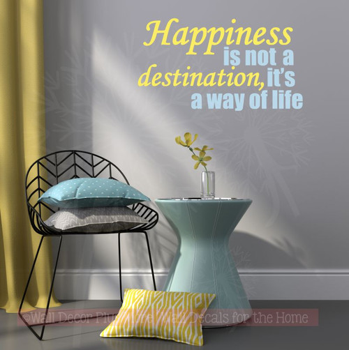 Happiness Its A Way of Life Inspirational Quotes Wall Art Decal Stickers-Light Yellow, Powder Blue