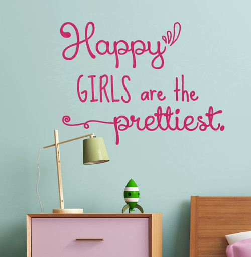Happy Girls Are Prettiest Wall Art Vinyl Decals Home Decor Wall Quotes-Hot Pink