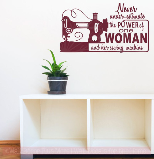 The Power Of One Woman Sewing Craft Wall Art Decals Vinyl Lettering Stickers-Burgundy