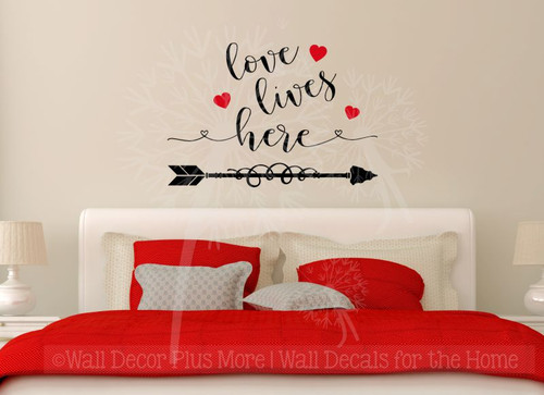 Love Lives Here Home Decor Vinyl Lettering Wall Sticker Bedroom Quotes-Black, Cherry Red