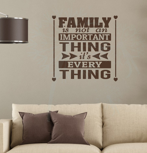Family Is Everything Home Decor Vinyl Lettering Family Wall Decals Quote-Chocolate Brown