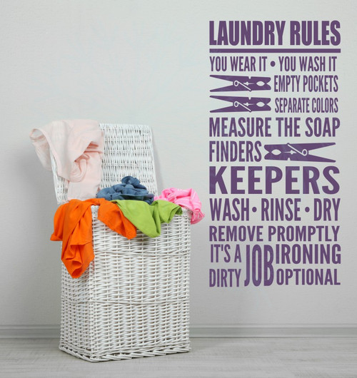 Laundry Rules It's A Dirty Job Home Decor Vinyl Lettering Decals Wall Sticker Quotes-Plum