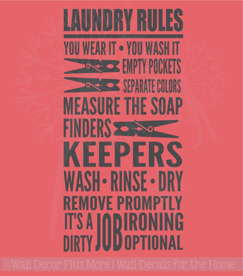 Laundry Rules It's A Dirty Job Home Decor Vinyl Lettering Decals Wall Sticker Quotes