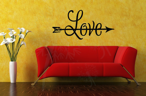 LOVE with Arrow Romantic Home Decor Vinyl Wall Sticker Lettering Wall Quotes-Black