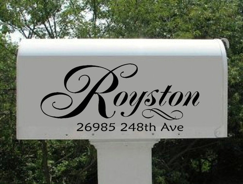 Sophisticated Personalized Mailbox Sticker with Swirls and Address