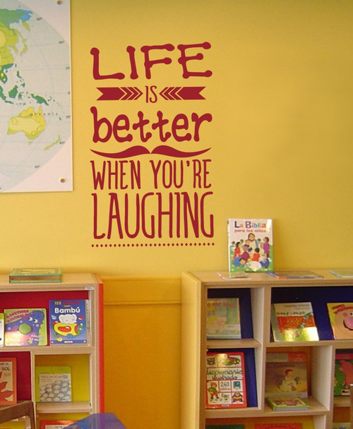 Life is Better Laughing Inspirational Wall Art Decals Arrow Wall Vinyl Lettering Quote-Red