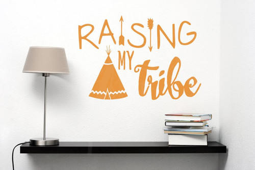 Raising My Tribe Family Wall Decals Home Decor Arrow Vinyl Lettering Quote-Rust Orange