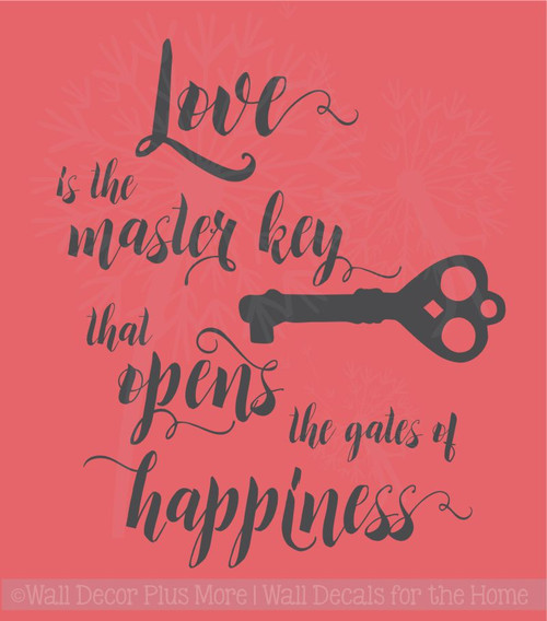 Love is the Key Vinyl Lettering Decals Wall Sticker Art Home Decor Quote