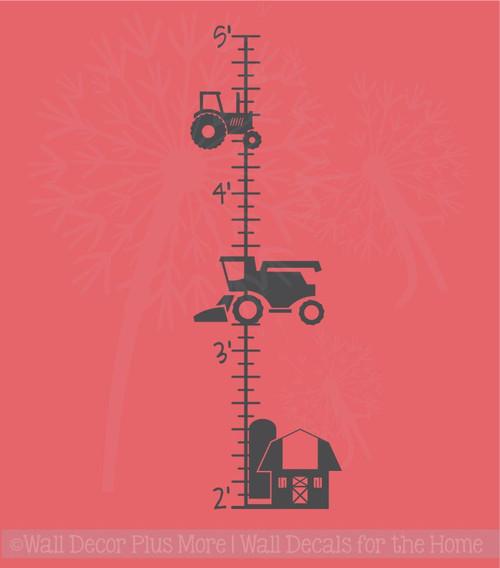 Farm Tractor Growth Chart Vinyl Sticker Decals Boy Bedroom Wall Art Decor