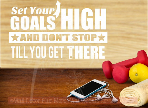 Set Your Goals High Vinyl Lettering Quote Inspirational Wall Art for Home Decor White