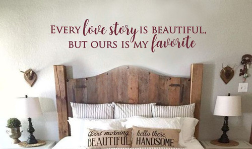 My Favorite Love Story Home Decor Vinyl Lettering Wall Stickers Quotes for Bedroom Decor-Burgundy