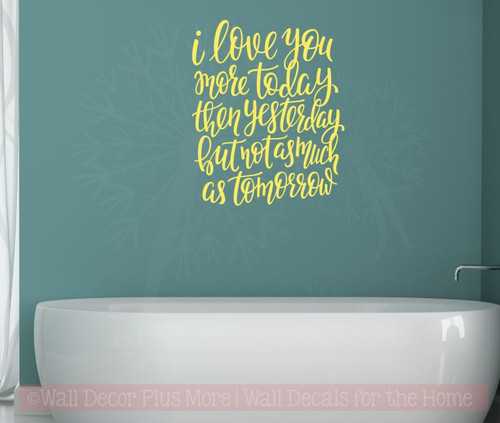 Love You More Each Day Wall Stickers Vinyl Lettering Romantic Bedroom Wall Decor Light Yellow