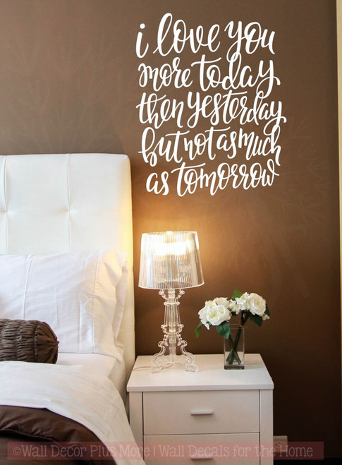 Love You More Each Day Wall Stickers Vinyl Lettering Romantic Bedroom Wall  Decor