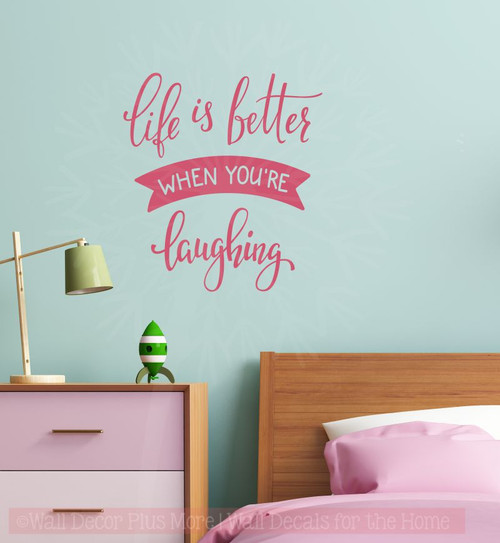Life Is Better Laughing Inspirational Wall Art Vinyl Decals Lettering Home Decor Quote Lipstick
