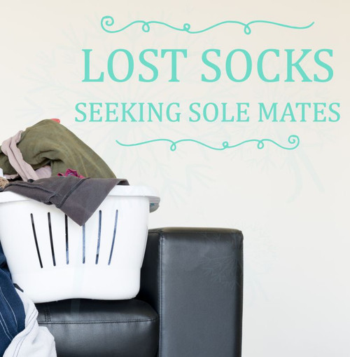 Lost Socks Seeking Sole Mates Vinyl Lettering Wall Art Decor Laundry Sticker Quote-Mint