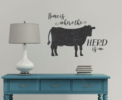 Home Is Herd Cow Wall Decor Vinyl Decal Stickers Cattle Farm Quote-Black