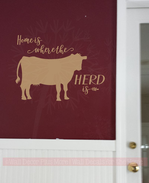 Home Is Herd Cow Wall Decor Vinyl Decal Stickers Cattle Farm Quote Tan