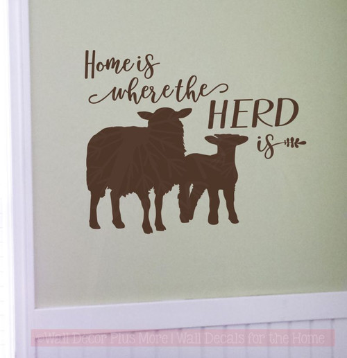 Home Is Where Herd Is Sheep Wall Decals Vinyl Sticker Farm Decor Quote Stencils Chocolate