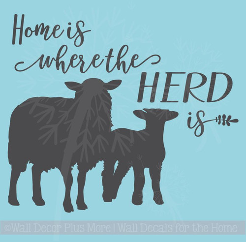 Home Is Where Herd Is Sheep Wall Decals Vinyl Sticker Farm Decor Quote Stencils