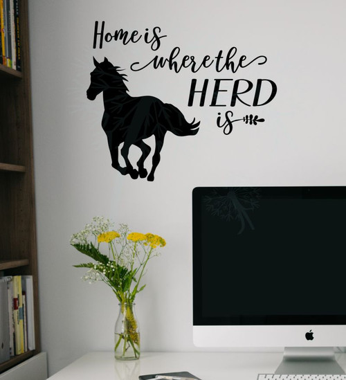 Horse Home Herd Is Vinyl Decal Stickers Wall Art Decor Stencil Farm Quotes-Black