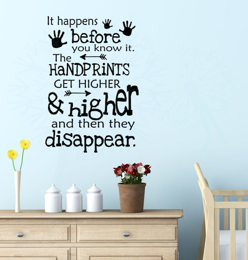 Handprints Get Higher, Then Disappear Vinyl Lettering Art Wall Decal Stickers Childrens Home Décor-Black