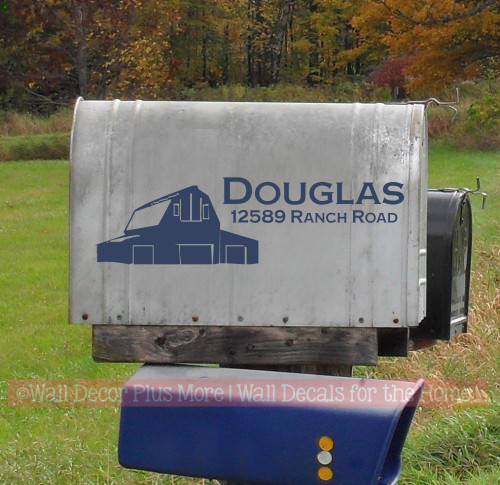 Barn Mailbox Lettering Decals Sample of Jumbo Mailbox decal on large rural mailbox.  Deep Blue glossy