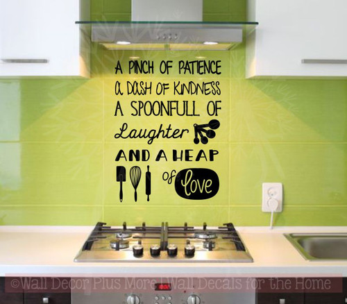 Pinch of Patience Heap of Love Kitchen Wall Decor Vinyl Lettering Art Family Wall Decals Black