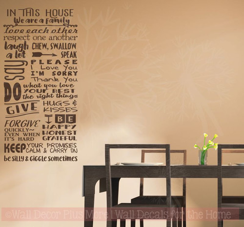 In This House We Are A Family Wall Decor Vinyl Lettering Decals Kitchen Wall Stickers-Chocolate Brown