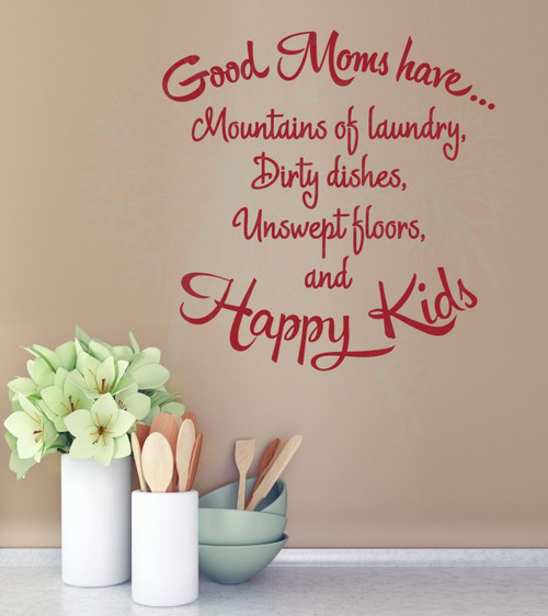 Good Moms Have Happy Kids Vinyl Lettering Decals Family Wall Stickers Quote-Red