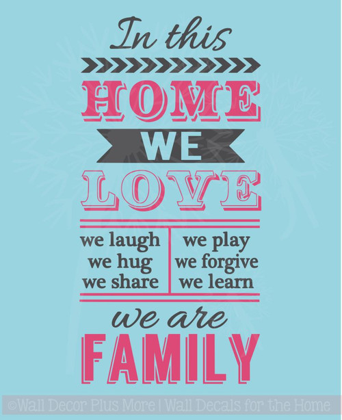 In This Home We Are Family Vinyl Lettering Art Family Wall Decals Decor Stickers