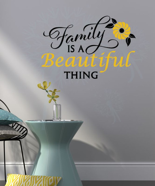 Family Is A Beautiful Thing Wall Decor Art Vinyl Lettering Wall Decals About Family-Black, Mustard