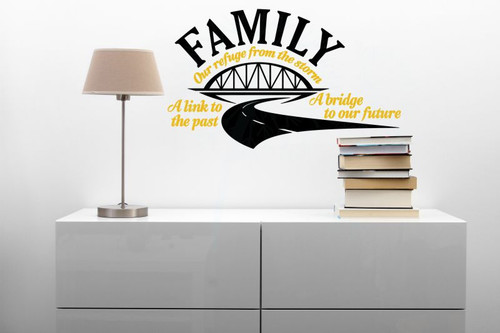 Family Bridge To Our Future Wall Decor Saying Vinyl Decals Family Wall Stickers-Black, Mustard