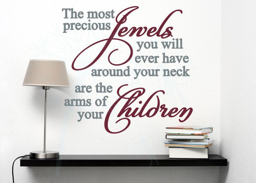Children Are Precious Jewels Family Wall Decals Vinyl Lettering Art Home Decor Stickers-Storm Gray, Burgundy