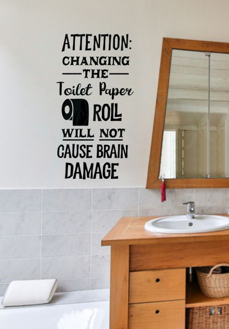 Toilet Paper Brain Damage Bathroom Humor Wall Decal Letters Funny Vinyl  Wall Stickers