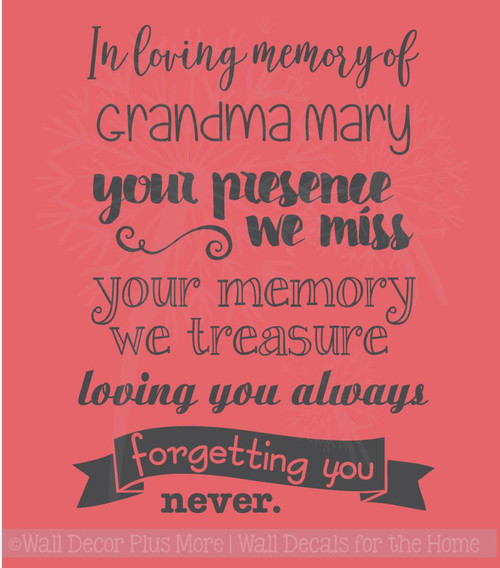 In Loving Memory Forgetting You Never Memorial Wall Decals Vinyl Stickers Remembrance Quote