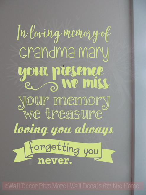 In Loving Memory Forgetting You Never Memorial Wall Decals ...