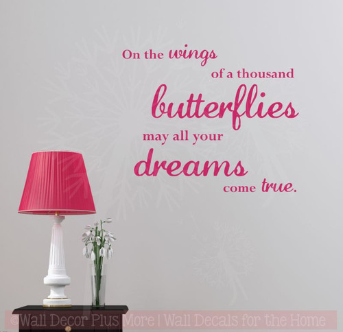 Wings of a Thousand Butterflies Wall Stickers Vinyl Art Decals Girl Room Decor Quote Hot Pink