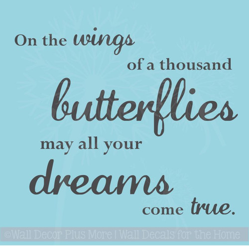 Wings of a Thousand Butterflies Wall Stickers Vinyl Art Decals Girl Room Decor Quote