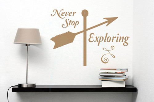 Never Stop Exploring Wall Sticker Art Vinyl Lettering Decals Arrow Home Decor Quote-Tan