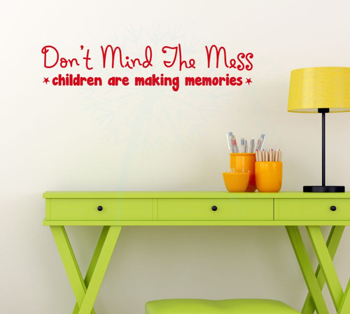 Children Making Memories Mess Vinyl Lettering Quote Family Wall Decals Sticker Home Decor-Cherry Red