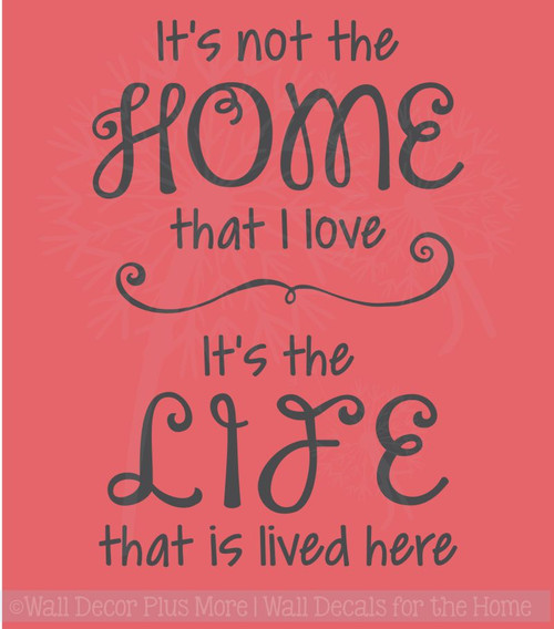 Love the Home Life Lived Here Family Wall Decals Quote Vinyl Stickers Home Decor