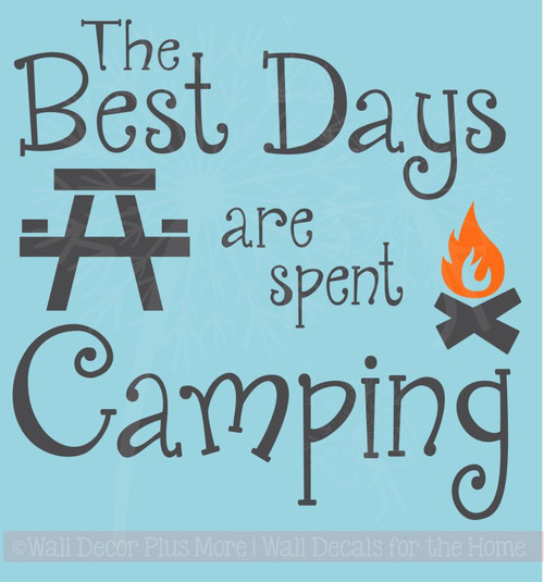 Best Days Spent Camping Family Wall Stickers Vinyl Lettering Quote Wall Decals Summer Art