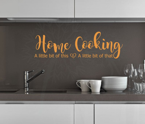 Home Cooking Little This Little That Vinyl Lettering Family Home Wall Decals Kitchen Decor Stickers-Rust Orange