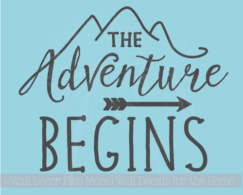 The Adventure Begins Wall Sticker Art Vinyl Letters Decals Arrow Camper Quote