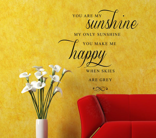 You are my sunshine, make me happy -love song- Wall Decal phrase for bedroom decor-Black